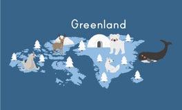 Vector van de het continent de dierlijke vastgestelde illustratie van Groenland vector illustratie