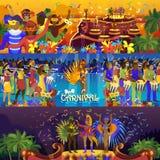 Vector van de het festivalviering van Brazilië Carnaval Rio van de meisjesdansers Braziliaans van de de sambapartij carnaval trad stock illustratie