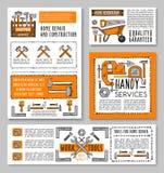 Vector van de het huisreparatie van het werkhulpmiddelen de schetsaffiches Stock Foto's