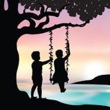 Vector van de illustratiemeisje en jongen speelschommeling Royalty-vrije Stock Foto