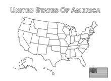 Vector van de kaart van de V.S. en Amerikaanse vlag Overzichtsstijl Stock Fotografie