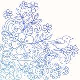 Vector van de Krabbel van de Bloem en van de Vogel van de henna de Abstracte vector illustratie
