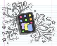 Vector van de Krabbel van de Tablet van de computer de Schetsmatige Stock Foto's