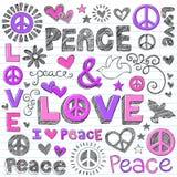Vector van de Krabbels van de vrede & van de Liefde de Schetsmatige stock illustratie
