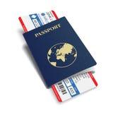 Vector van de luchtvaartlijnpassagier en bagage (instapkaart) kaartjes met streepjescode en internationaal paspoort Stock Afbeeldingen