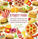 Vector van de maaltijdsnacks van het straatvoedsel het menuaffiche Stock Afbeeldingen