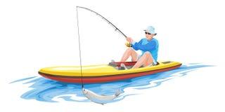 Vector van de mens die op boot vissen Stock Foto