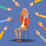 Vector van de slachtoffer de Arabische, Saoedi-arabische Vrouw In Schande Schuld in de Maatschappij Omringd door Handen met Wijsv vector illustratie