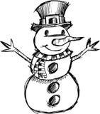 Vector van de Sneeuwman van Kerstmis de schetsmatige Royalty-vrije Stock Foto's