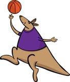 Vector van de de sportmascotte van het kangoeroebasketbal het beeldverhaalillustratie Geschikt voor embleem en affiches royalty-vrije illustratie