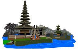 Vector van de Tempel van Meerbratan Beratan Stock Foto's