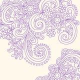 Vector van de Wervelingen van de Henna van de krabbel de Abstracte Royalty-vrije Stock Afbeeldingen