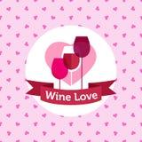 Vector van de wijnwinkel of bar embleemontwerp met harten Royalty-vrije Stock Afbeelding
