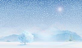 Vector van de winterlandschap. Stock Afbeeldingen