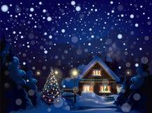 Vector van de winterlandschap. Vrolijke Kerstmis! Royalty-vrije Stock Afbeelding