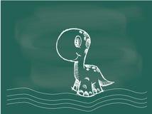 Vector van Dinosaurus die op het bordkrijt trekken Stock Afbeelding
