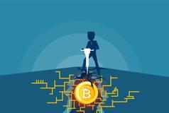 Vector van een bedrijfsmensenmijnbouw bitcoins Royalty-vrije Stock Foto's
