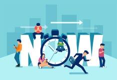 Vector van een bezige lopende zakenman en het laidback jonge generatie spelen in moderne gadgets vector illustratie