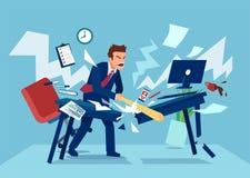 Vector van een boze zakenman in zijn bureau vector illustratie