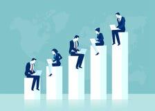 Vector van een commercieel team die aan laptops werken die online onderzoek voor afzetmogelijkheden leiden stock illustratie