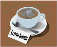 Vector van een glas van koffiekop in een koffiewinkel stock illustratie