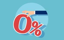 Vector van een rood nul die percent door zakenman wordt aangeboden stock illustratie
