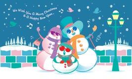 Vector van een sneeuwman` s familie, het zingen Kerstmishymne onder de sneeuw vector illustratie