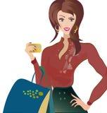 Vector van een Vrouw met Creditcard. Meisje bij het Winkelen Royalty-vrije Stock Afbeelding