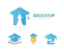 Vector van gediplomeerde hoed en pijl op embleemcombinatie Studie en de groeisymbool of pictogram Unieke hogeschool en universite Royalty-vrije Stock Foto