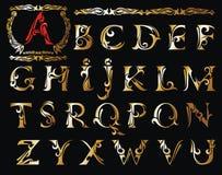Vector van gestileerd kalligrafisch doopvont en alfabet vector illustratie