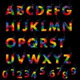 Vector van gestileerd kleurrijk doopvont en alfabet Royalty-vrije Stock Afbeeldingen