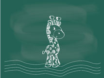 Vector van Giraf die op het bordkrijt trekken Royalty-vrije Stock Foto's