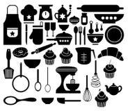 Vector van Groot Vastgesteld Keukenpictogram Royalty-vrije Stock Foto's