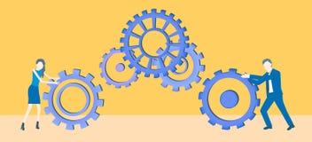 Vector van het bedrijfs de vlakke ontwerpgroepswerk met twee collega's die tandraderen rollen stock illustratie