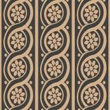 Vector van het damast naadloze retro patroon spiraal als achtergrond om de lijnbloem van het kromme dwarskader Het elegante ontwe stock illustratie