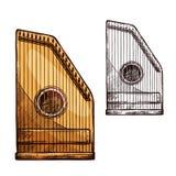 Vector van het de harpkoord van schetsgusli de muziekinstrument vector illustratie