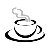 Vector van het de mok de gestileerde embleem van de koffie Stock Afbeelding
