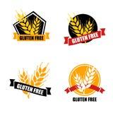 Vector van het gluten de vrije etiket Het kenteken van de onverdraagzaamheidscirkel op w wordt geïsoleerd dat royalty-vrije illustratie