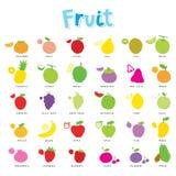 Vector van het het Pictogramontwerp van het fruit de Leuke Beeldverhaal Stock Fotografie