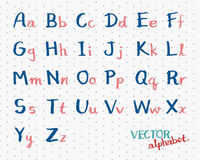 Vector van het kinderen de Met de hand geschreven Alfabet De Engelse Illustratie van Doopvontbrieven Stock Afbeeldingen