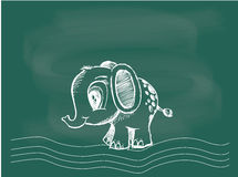 Vector van het Mammoet trekken op het bordkrijt Stock Afbeelding