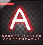 Vector van het neon de rode alfabet Stock Afbeeldingen