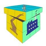 Vector van het vierkante industriële concept van kubusrubik 4X4 stock fotografie
