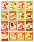 Vector van het voedselsnacks van de snel voedselstraat de kaartenmenu Stock Foto's