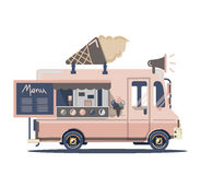 Vector van ice cream. Vector van illustration retro vintage ice cream Stock Images