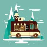 Vector van illustration retro vintage coffee. On winter landscape background Royalty Free Stock Images