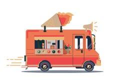 Vector van illustration. Retro vintage ice cream truck. On white background Royalty Free Stock Photography