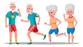 Vector van Jogger de Oude Mensen Joggerpaar Actieve Gezondheid Opleiding Illustratie stock illustratie