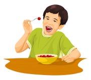 Vector van jongen die druiven eten die vork gebruiken Stock Foto