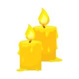 Vector van kaarsen op wit wordt geïsoleerd dat De stijl van het beeldverhaal Leuk grappig Kerstmispictogram Illustratie vector illustratie